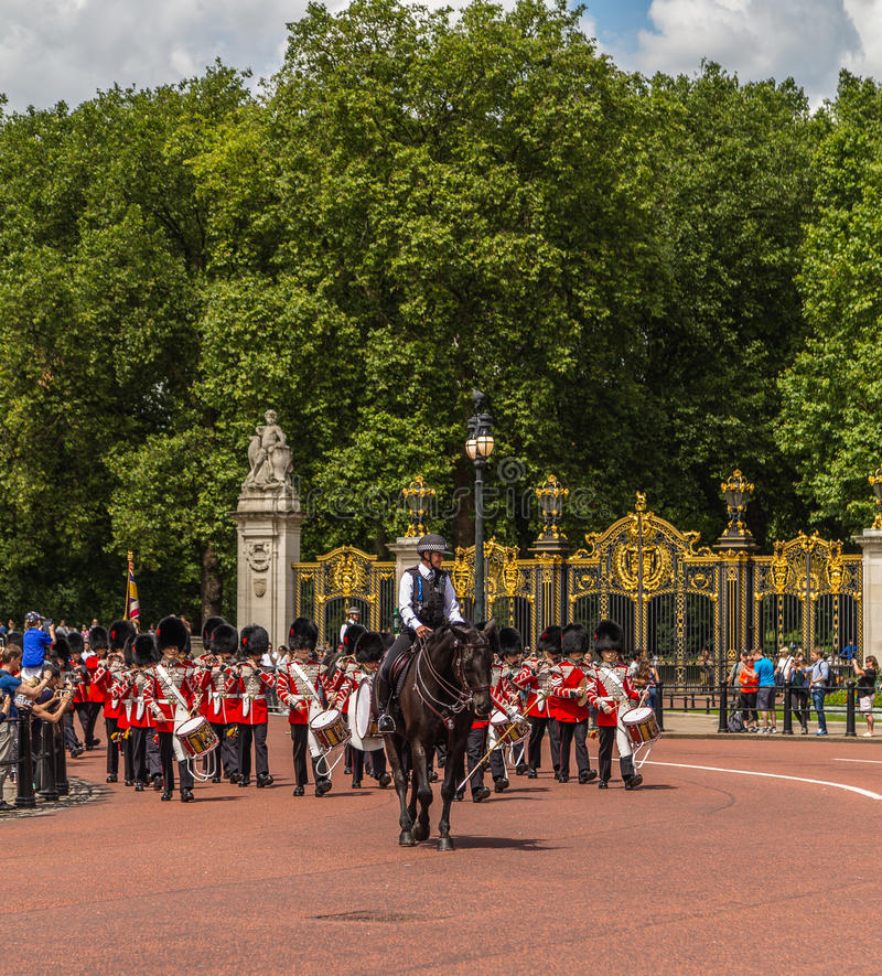 Musicians at the Changing of the Guard Performance at Buckingham. LONDON, UK - 28TH JUNE 2016: Musicians at the Changing of the Guard Performance at Buckingham stock image