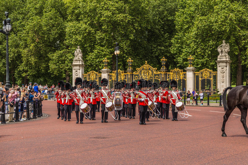 Musicians at the Changing of the Guard Performance at Buckingham. LONDON, UK - 28TH JUNE 2016: Musicians at the Changing of the Guard Performance at Buckingham stock images