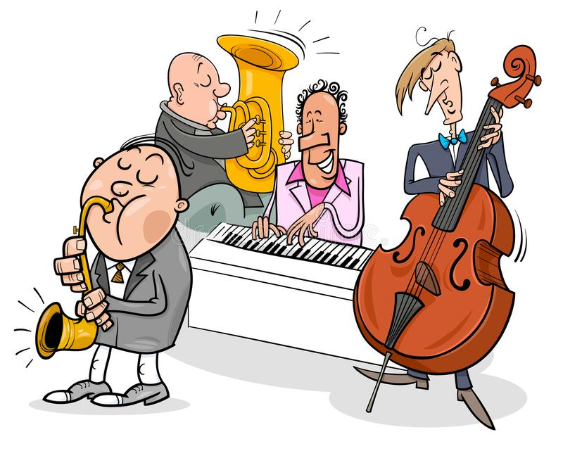Musicians characters playing jazz music stock illustration