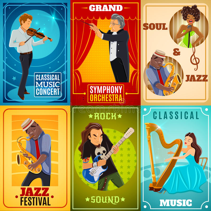 Musicians flat banners composition poster vector illustration
