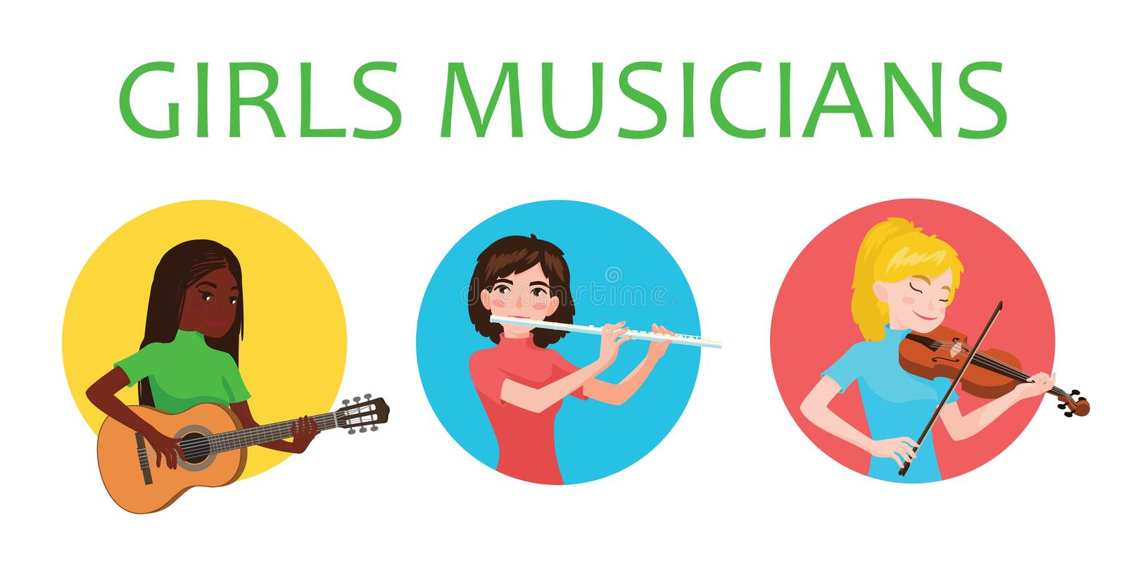 Musicians girls of different nations is inspired to play musical instruments. Violinist, flutist, guitarist. Vector royalty free illustration