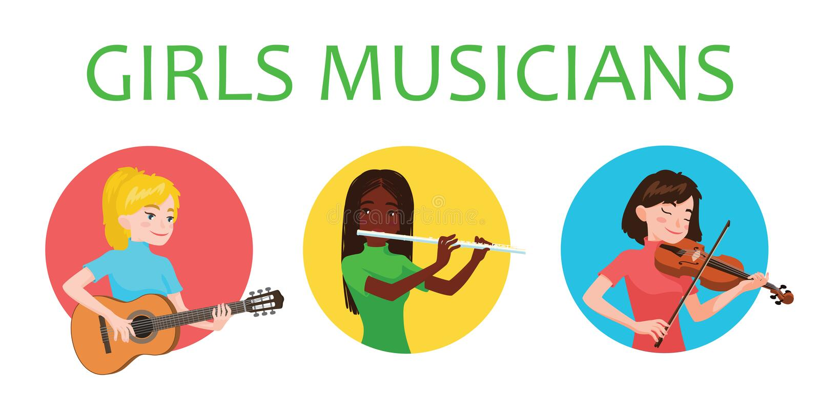 Musicians girls is inspired to play different musical instruments. Violinist, flutist, guitarist. Vector illustration in. Flat cartoon style in circle on white royalty free illustration