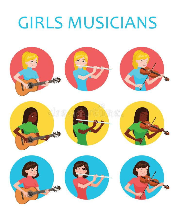 Musicians girls is inspired to play different musical instruments. Violinist, flutist, guitarist. Vector illustration in. Flat cartoon style in circle on white vector illustration