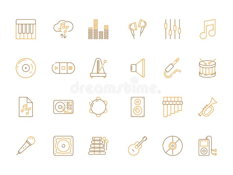 Musicians icons. Audio recording studio tools acoustic guitar piano microphone music vector colored pictures royalty free illustration