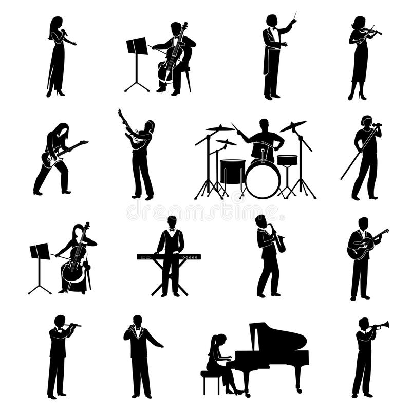 Musicians Icons Black vector illustration