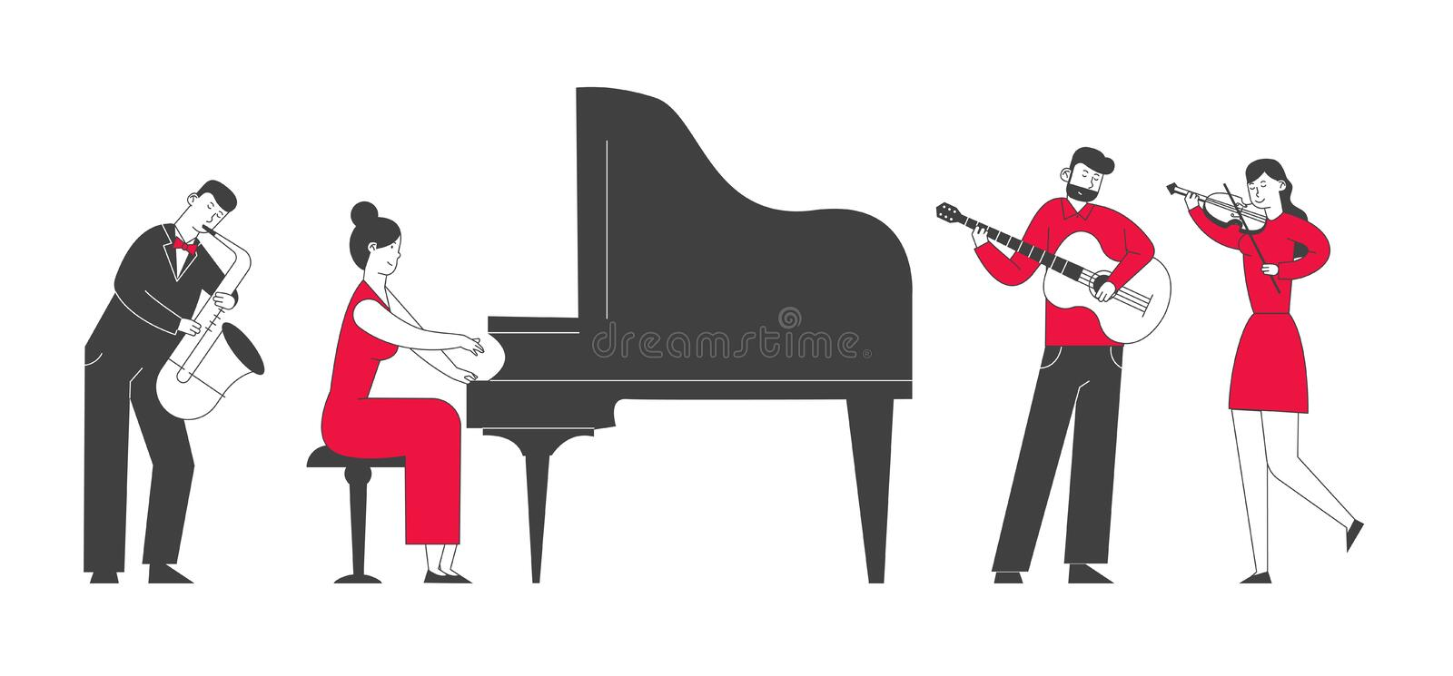 Musicians with Instruments Perform on Stage Symphony. Orchestra Playing Classical or Jazz Concert on Philharmonic Scene stock illustration