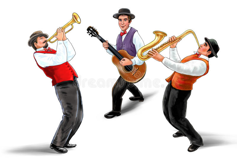 JAZZ Musicians trumpeter saxophonist guitarist isolated Watercolor illustration royalty free stock photos