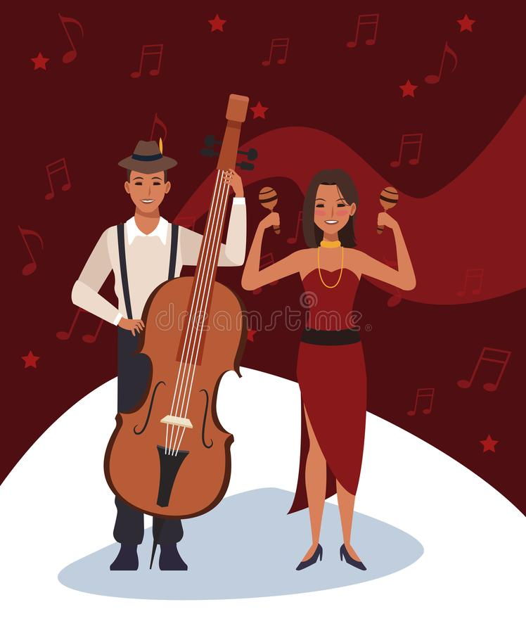 Musicians with Maracas and cello instruments, Jazz music band design vector illustration