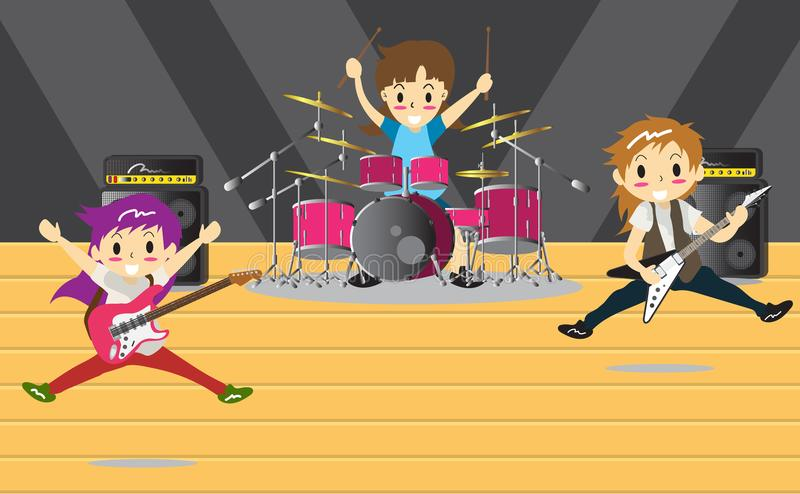 Musicians and Musical Instruments Rock band, music group with musicians concept of artistic people vector illustration. royalty free illustration