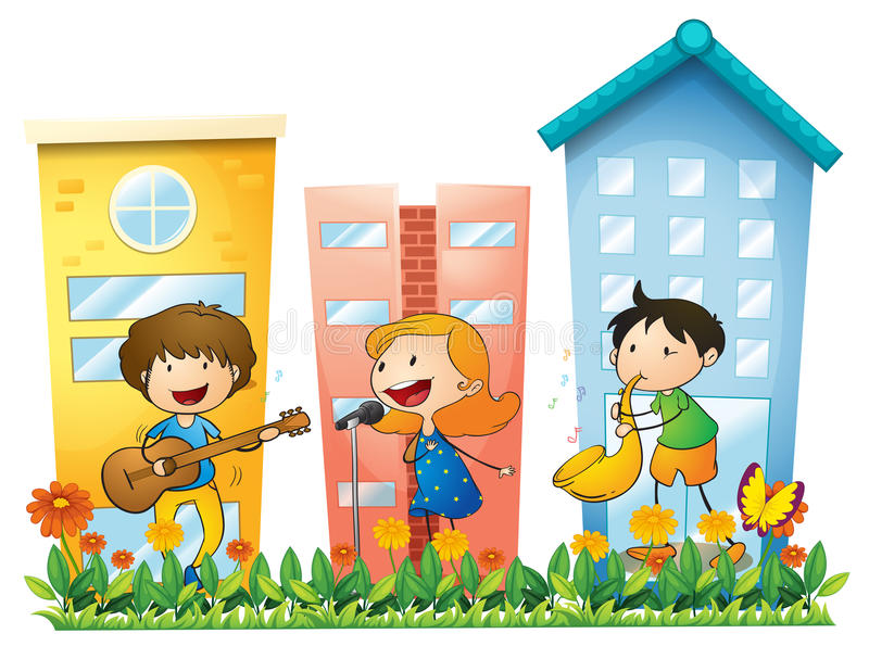 Download Musicians Performing Near The Buildings Stock Vector - Illustration of drawing, garden: 33694782