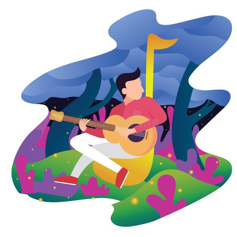 musicians playing guitar. Flat vector character illustration - Vector royalty free illustration