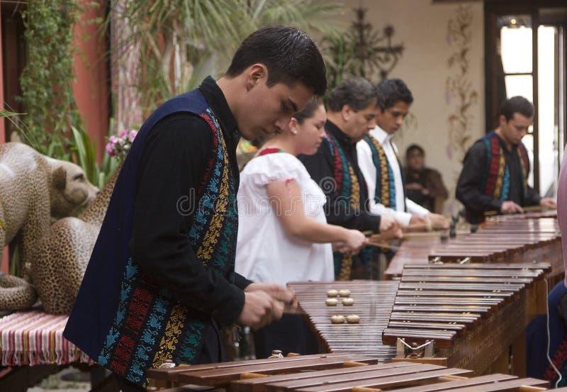Musicians playing marimba stock photo