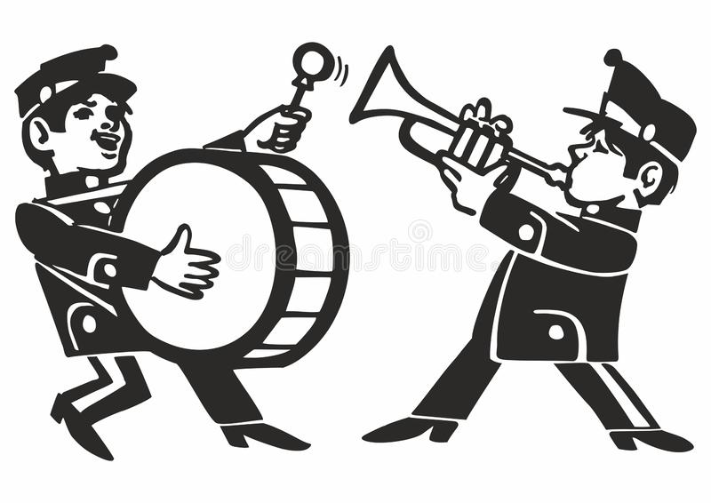 Musicians playing on musical instruments. Vector music poster background. Vector illustration vector illustration