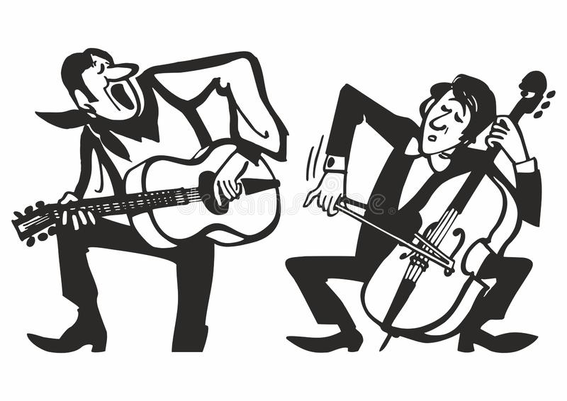 Musicians playing on musical instruments. Vector music poster background. Vector illustration royalty free illustration
