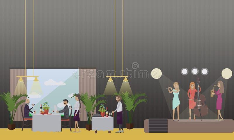 Musicians in restaurant vector illustration in flat style royalty free illustration