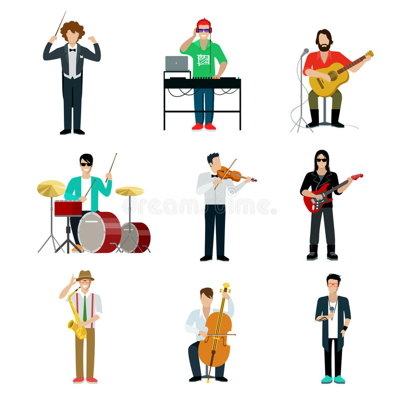 Musicians showman flat web infographic concept vector icon set. Group of creative young people playing instrument scene concert. DJ bard drummer rock guitarist vector illustration