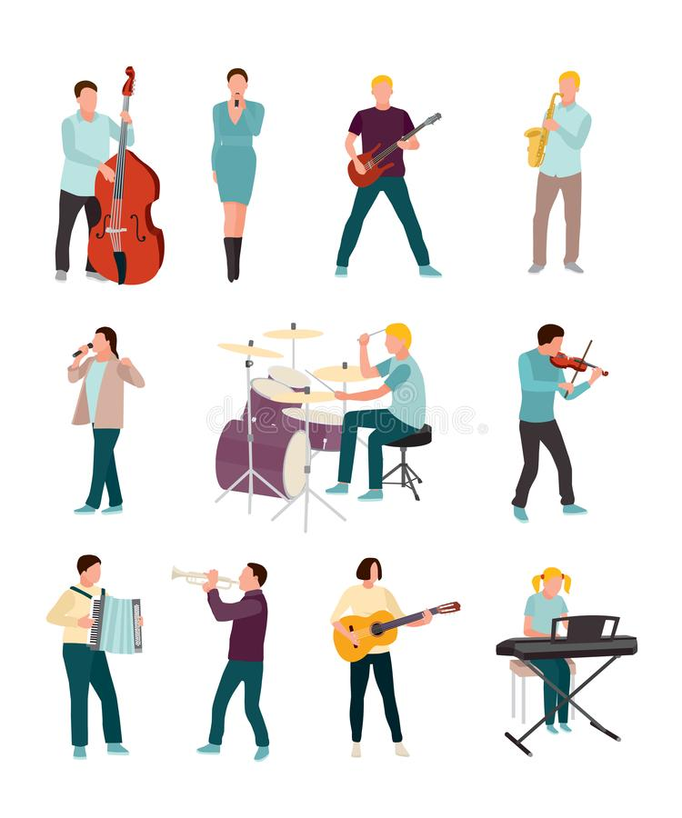 Musicians and singers vector characters set isolated on white background vector illustration