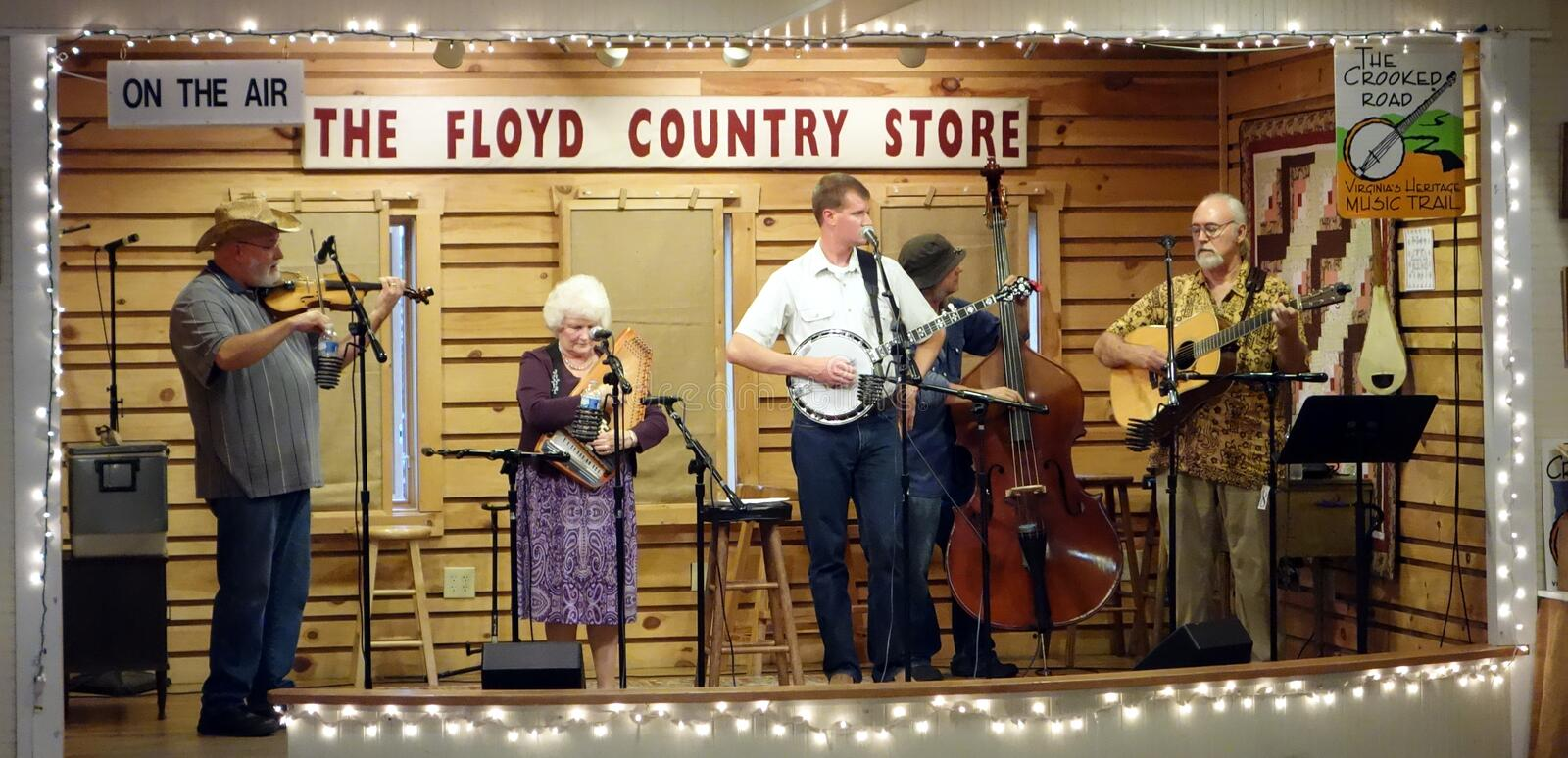 Musicians on the stage at the floyd country store stock photos