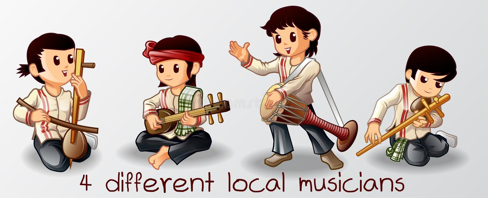 4 musicians Thai in cartoon characters. 4 musicians in cartoon characters vector illustration