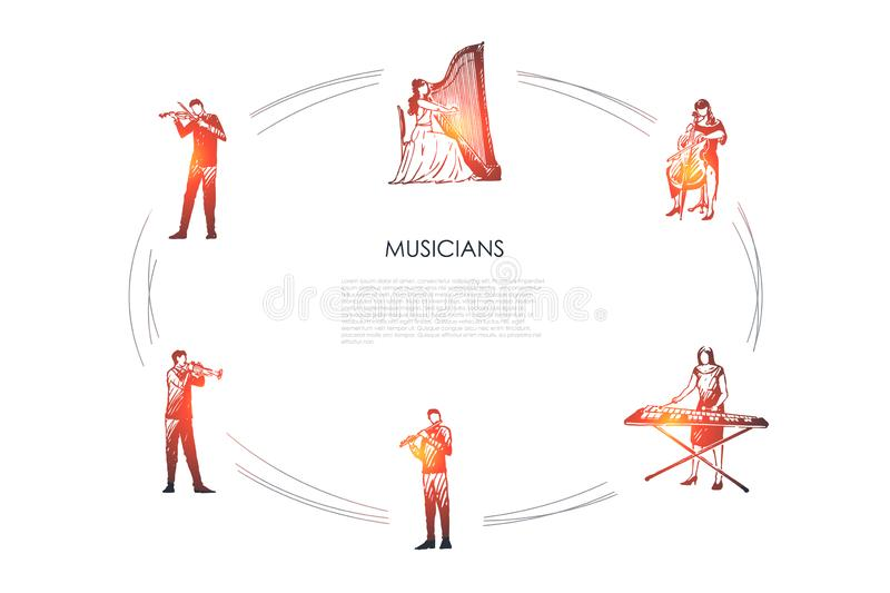 Musicians - violinist, harpist, cellist, xylophone player, flutist, bassoonist vector concept set. Hand drawn sketch isolated illustration royalty free illustration