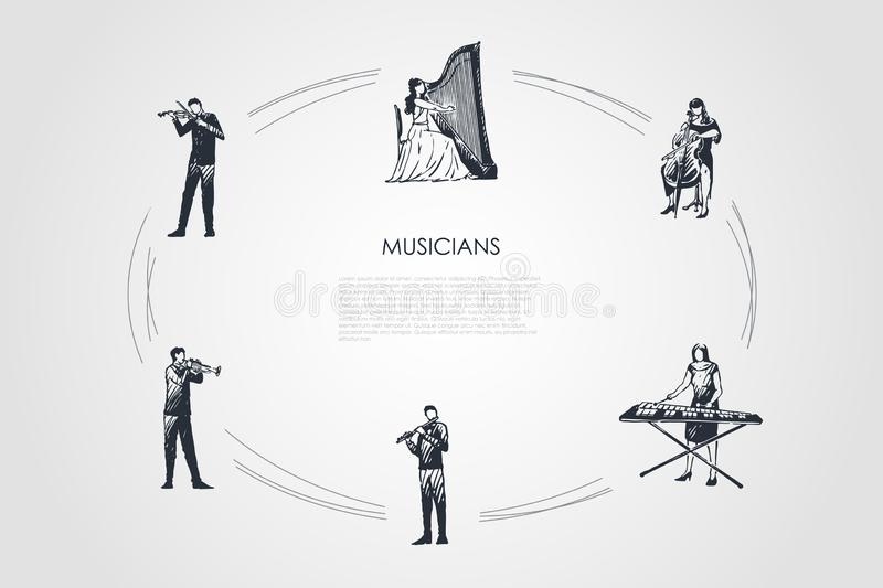 Musicians - violinist, harpist, cellist, xylophone player, flutist, bassoonist vector concept set. Hand drawn sketch isolated illustration vector illustration
