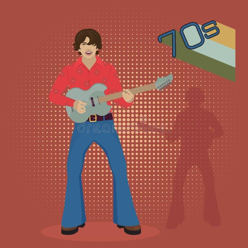 Musicien avec la guitare électrique sur un fond rouge, rétro illustration de vecteur
