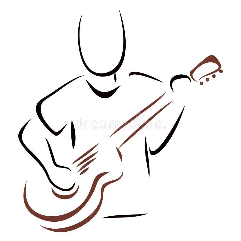 Musicien avec la guitare illustration stock