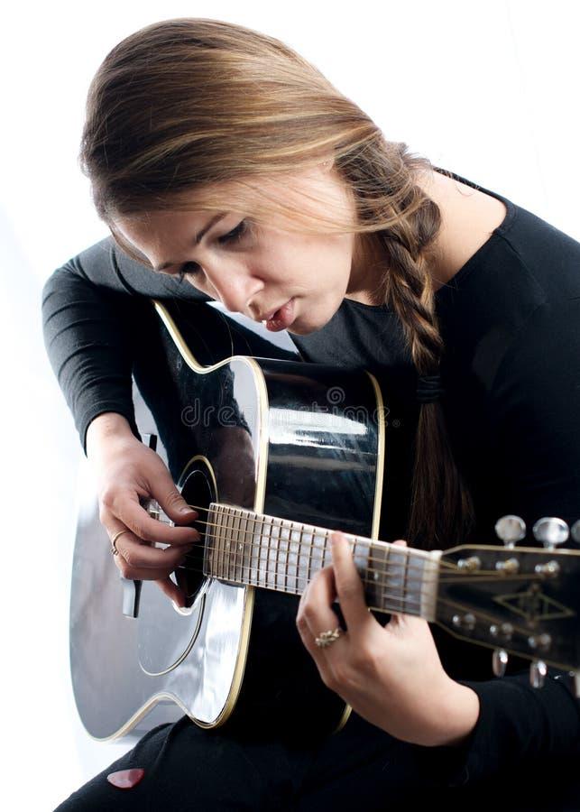 Musicien de guitare de femme photos libres de droits