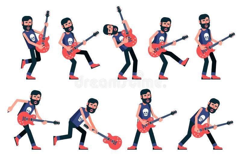 Musicien de roche avec une barbe jouant une guitare électrique illustration libre de droits