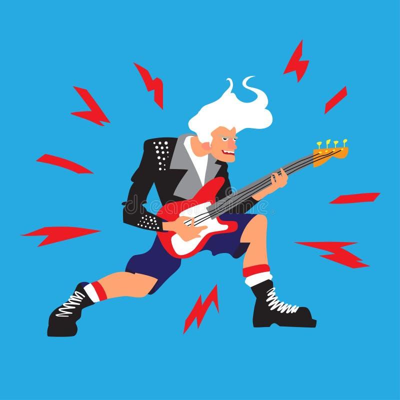 Musicien de roche ou de punk La personne extraordinaire de The de guitariste frais brûle vers le bas sur la guitare Illustration  illustration stock