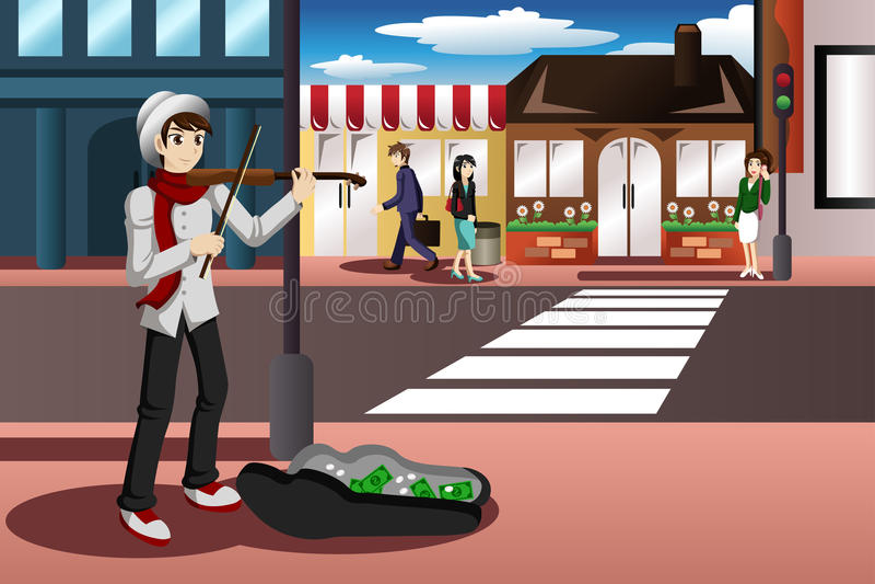 Musicien de rue illustration stock