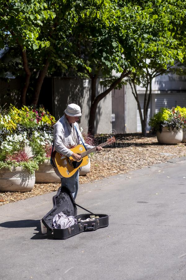 Musicien de trottoir un jour ensoleillé à Seattle photographie stock libre de droits