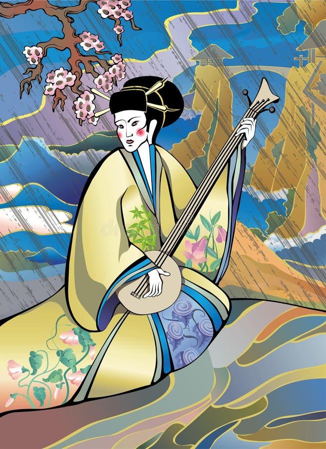 Musicien de type japonais illustration stock
