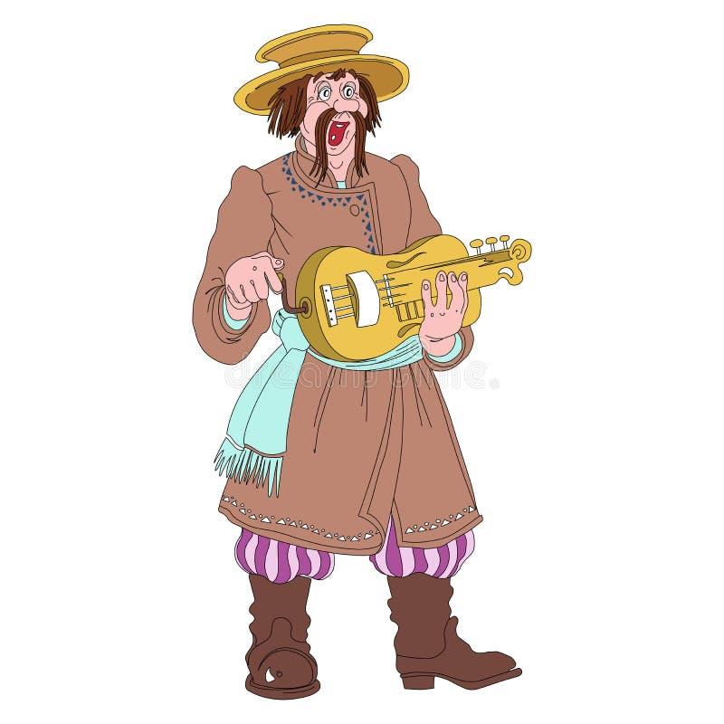 Musicien folklorique biélorusse dans le costume national images libres de droits