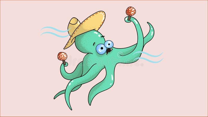 Musicien gai de poulpe avec des maracas dans les tentacules images libres de droits