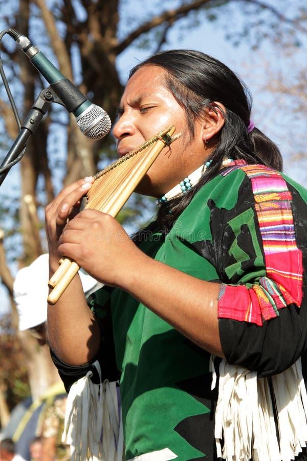 Musicien indien péruvien au pélerinage populaire image libre de droits