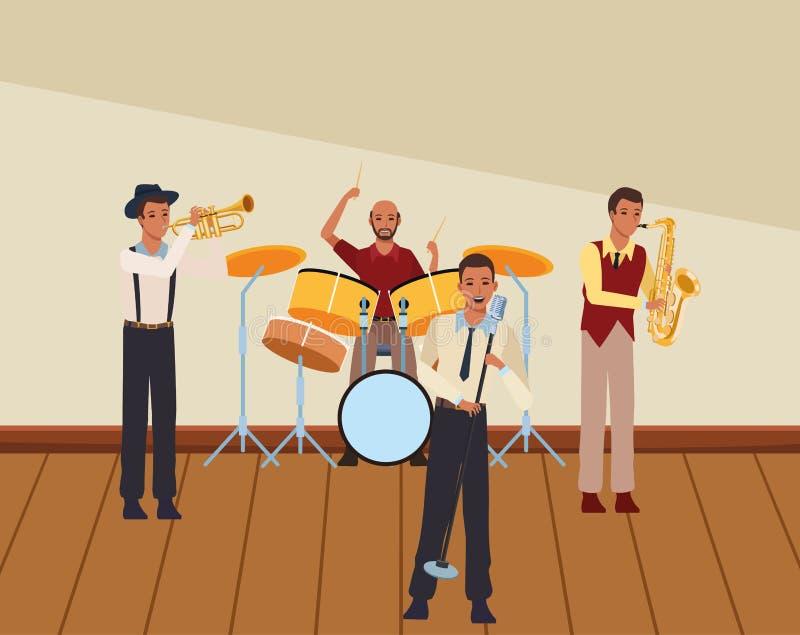 Musicien jouant dans une bande illustration de vecteur
