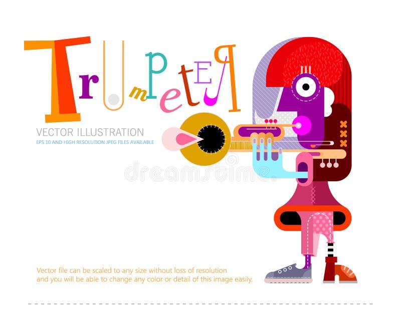 Musicien jouant la conception d'affiche de vecteur de trompette illustration libre de droits
