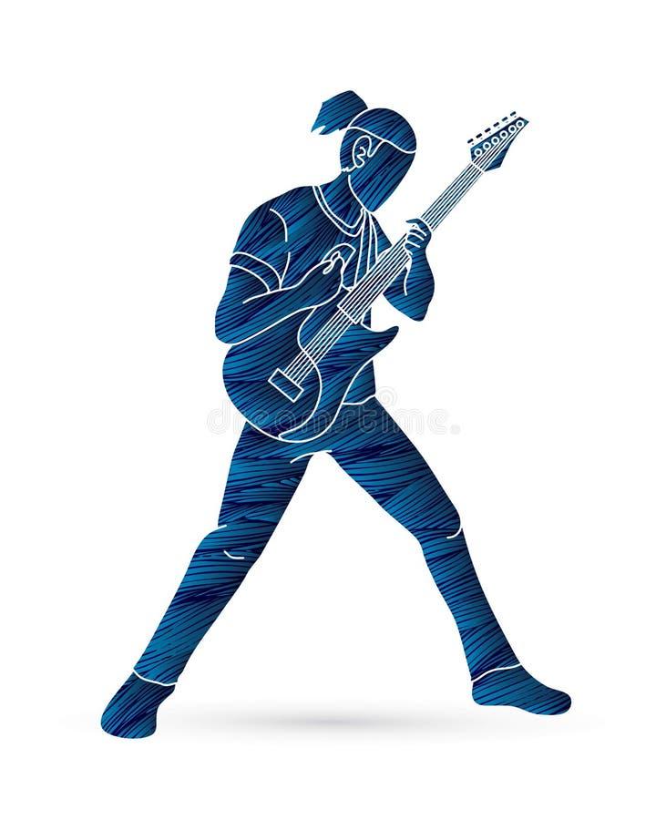 Musicien jouant la guitare électrique, bande de musique illustration stock