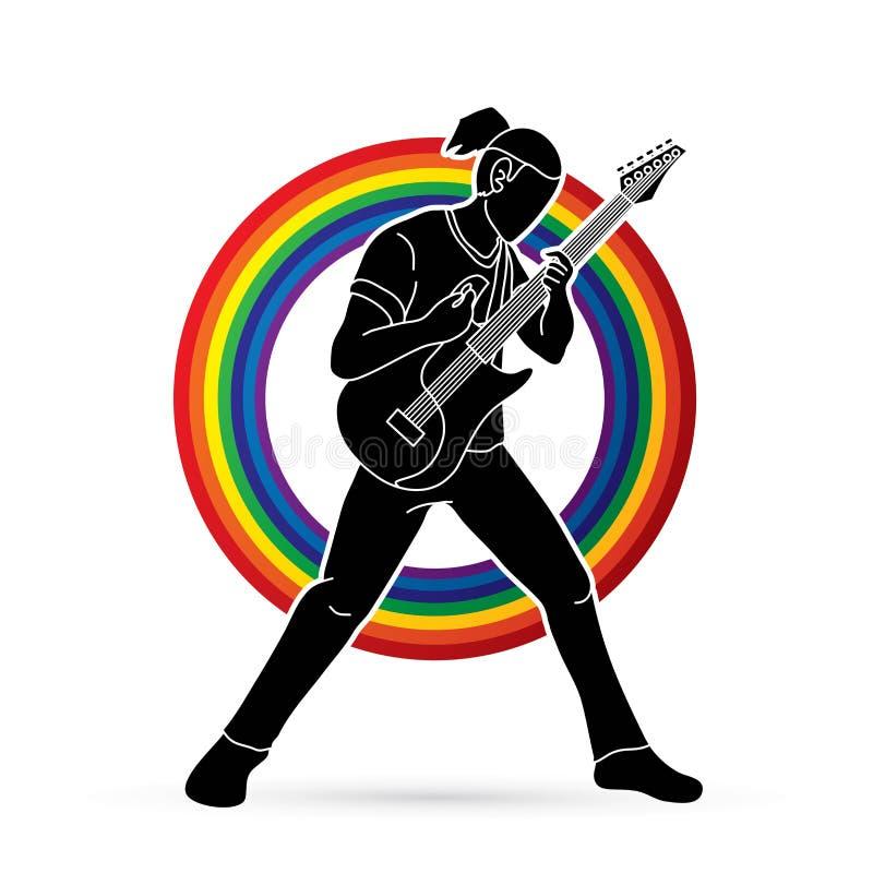 Musicien jouant la guitare électrique, bande de musique illustration de vecteur