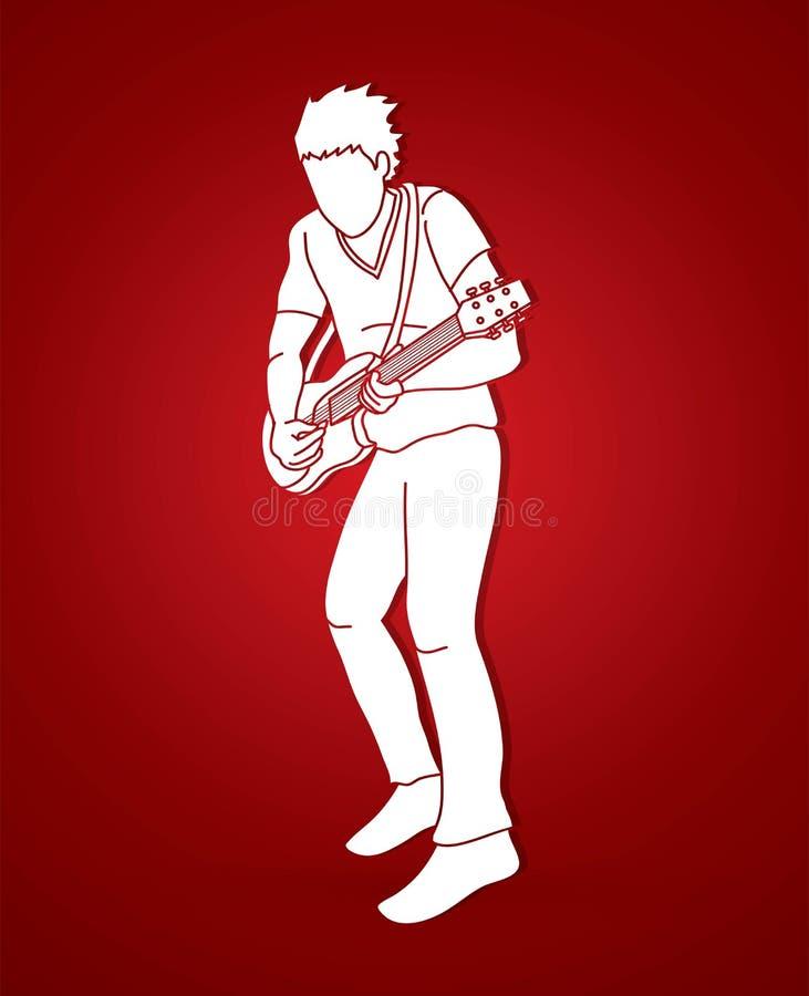Musicien jouant la guitare électrique, graphique de bande de musique illustration de vecteur