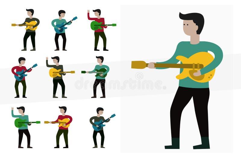 Musicien jouant la guitare illustration de vecteur