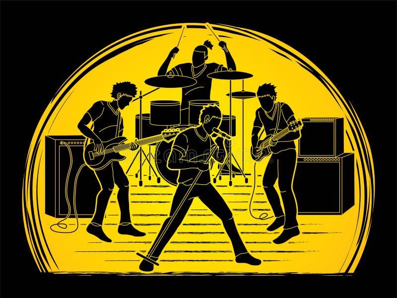 Musicien jouant la musique ensemble, bande de musique illustration de vecteur