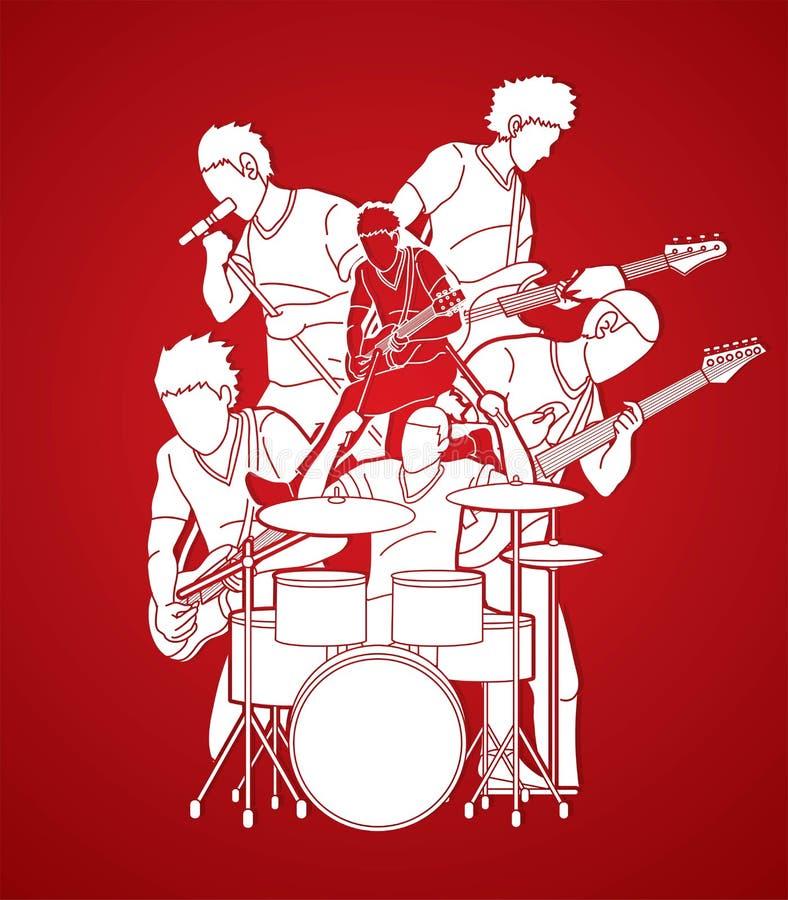 Musicien jouant la musique ensemble, graphique de bande de musique illustration libre de droits