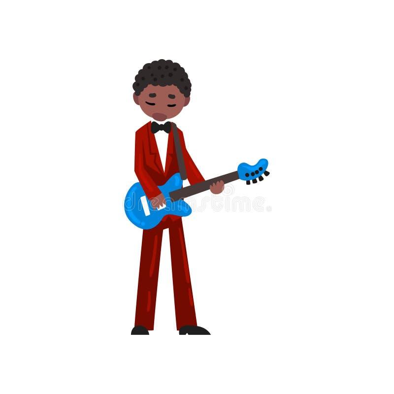 Musicien masculin d'Afro-américain dans le costume rouge jouant l'illustration de vecteur de guitare électrique sur un fond blanc illustration stock