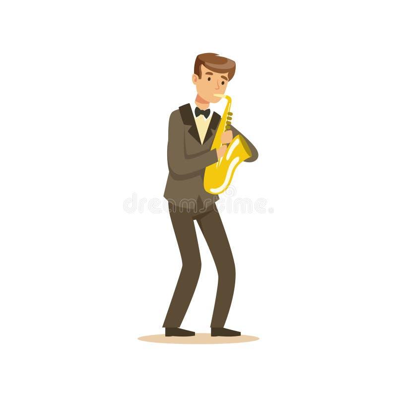 Musicien masculin portant un costume classique jouant le saxophone, représentation de musique classique illustration stock