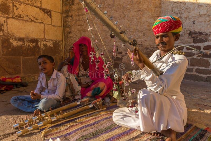 Musicien traditionnel de Rajasthani image libre de droits