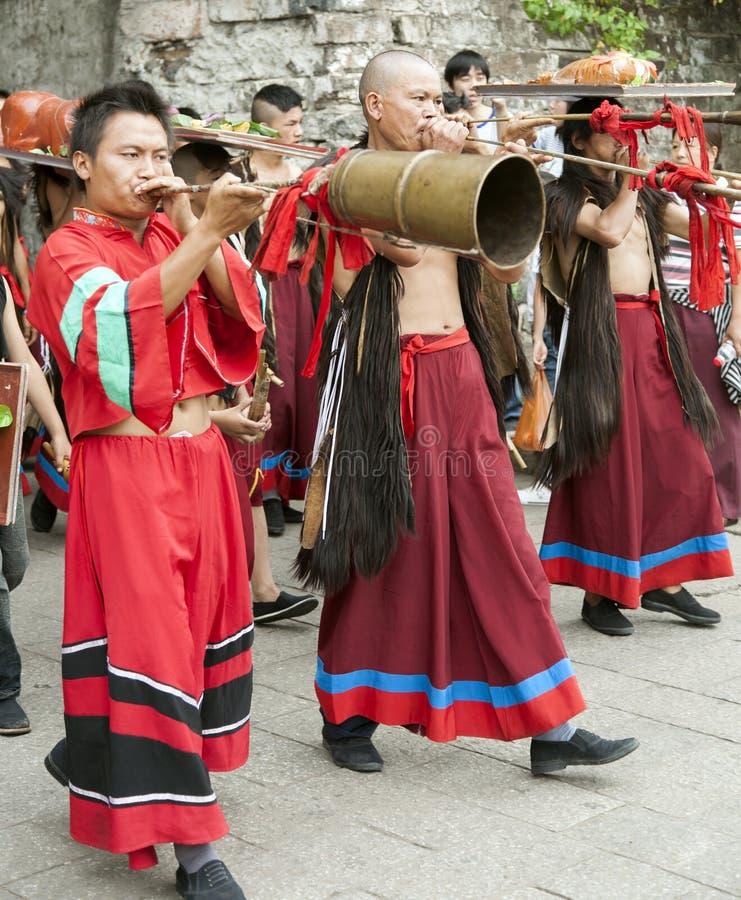 Musiciens chinois de minorité ethnique photographie stock