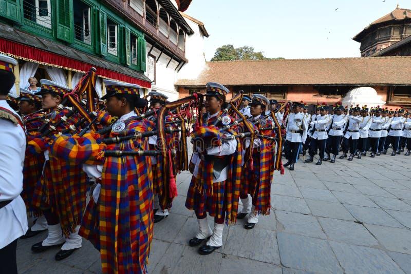 Musiciens d'armée de Nepali photo stock