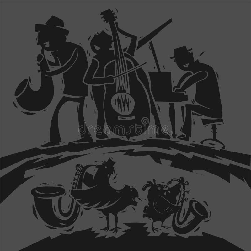 Musiciens de jazz drôles illustration libre de droits